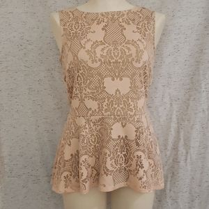 Pink and Beige Peplum Blouse